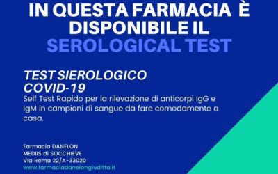 DISPONIBILE il SEROLOGICAL TEST, RILEVA ANTICORPI IgG e IgM.